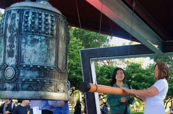 monami rings the Peace Bell