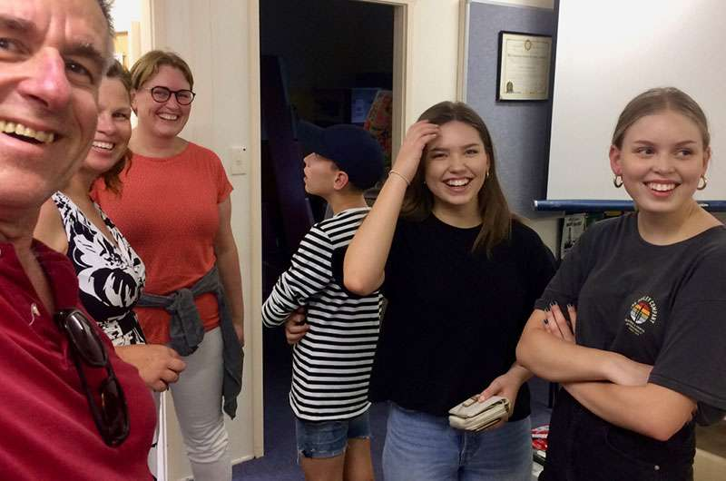 Martta's family visit the clubroom